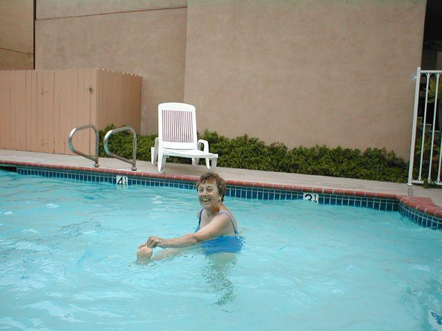 mom in pool